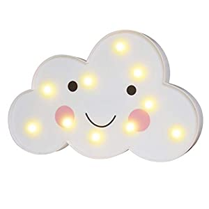 3D Painted Cloud LED Night Lights, Marquee Cloud Signs, Battery Operated Table Lamp Girl's Gift Toy Home Decor for Kids, Baby, Nursery, Living Room Dorm (Smile Cloud)