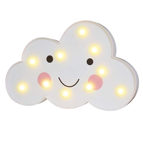 3D Painted Cloud LED Night Lights, Marquee Cloud Signs, Battery Operated Table Lamp Girl