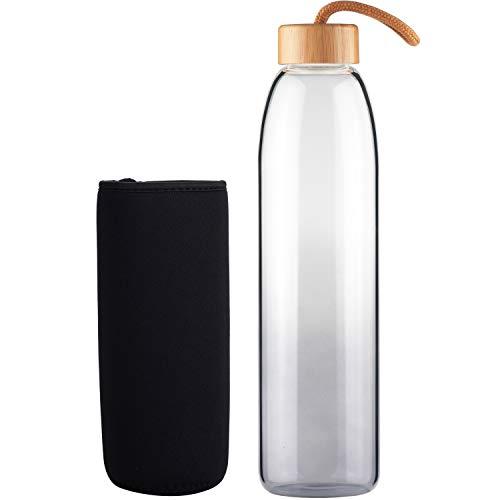 Life4u Sport Borosilikat Trinkflasche Glas Wasserflasche Glasflasche mit Neoprenhülle BPA Frei 500 ml Schwarz