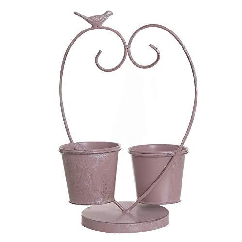Eideo Home Pot de fleurs double en métal Rose 32 cm