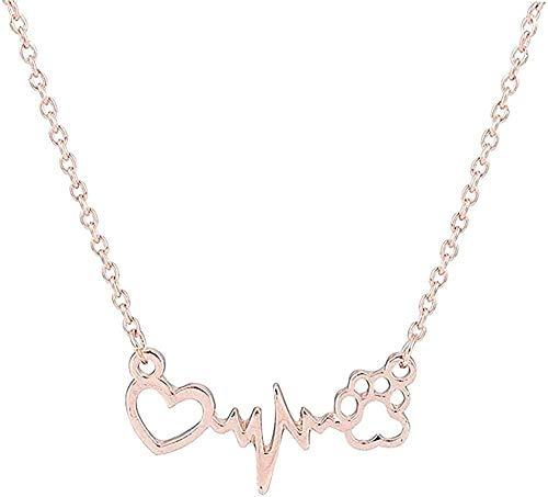 ZPPYMXGZ Co.,ltd Collar Moda Lindo Collar Mascotas Perros Huellas corazón Amor Cadena Colgante Collar Collares y Colgantes joyería para Mujeres declaración Collar