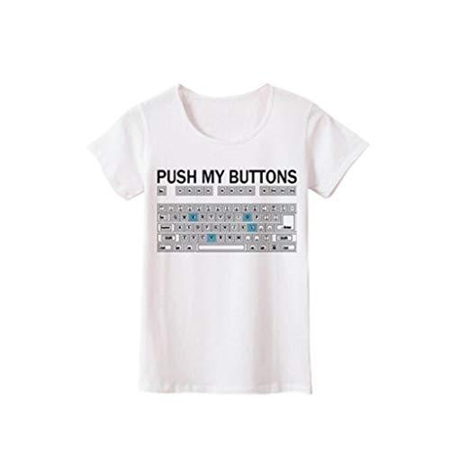 FRAUIT Damen/Mädchen Übergröße Kurzarmshirt Lustiger Tastaturdruck Frühling und Sommer T-Shirts Schlanker Körper Dünnes Kurzarm T-Shirt Mode Elegant Wunderschön Crop Top Streetwear