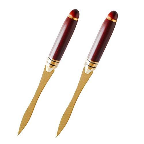Xrten 2 Stück Brieföffner, Umschlagöffner aus Metall mit Holzgriff, Durable Messer zum Öffnen von Umschlägen