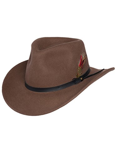 Men's Outback Wool Cowboy Hat Montana Pecan Brown Crushable Western Felt by Silver Canyon, Pecan, Medium