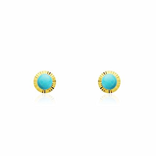 Monde Petit T1762P - Pendientes de bebe/niña oro 18 kts. orla rusa turquesa 4 mm.
