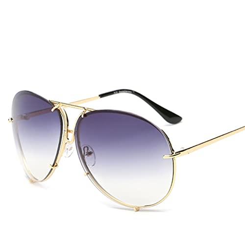 FDNFG Moda Mujeres de Gran tamaño Gafas de Sol Degradado Lente Ovalada Sombras de Soles Gafas de Sol Piloto Espejo Hembra UV400 Gafas para Mujeres Mujeres Gafas de Sol (Lenses Color : 09)