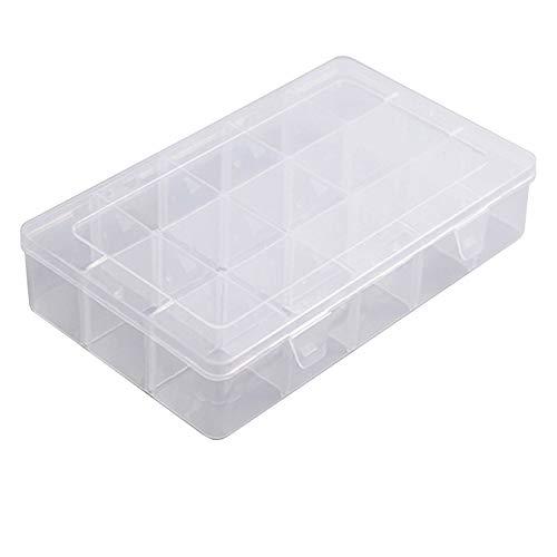 aufodara Caja de Almacenamiento de Plástico transparente, ajustable 15 Rejillas grandes Organizador para cintas Washi, joyas, cuentas, manualidades, Costura, Caja Surtida con 12 Divisores Extraíbles