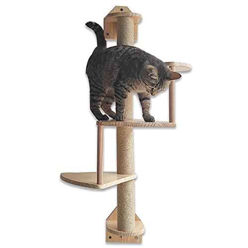Felivecal - Paletto tiragraffi per gatto, albero da parete, albero tiragraffi in legno massello, tiragraffi da parete per gatti, passaggi, scaglie di gatto, mobili per gatti