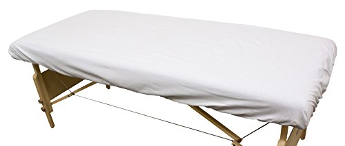 Body Linen Simplicity Poly Cotton Massage Table Fitted Sheet 80 Thread, White