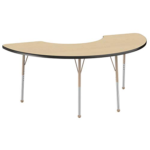 FDP Half Moon Activity School and Office Table (36 x 72 inch), Standard Legs with Ball Glides for Collaborative Seating Environments, Adjustable Height 19-30 inches - Maple Top, Black Edge, Sand Legs