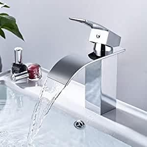 Dalmo Wasserhahn Bad, wasserfall Wasserhahn Badezimmer Waschbecken mit Geräuscharmem Keramischem Ventilkern, Heißes und Kaltes Wasser Vorhanden, Verchromt Messing, Waschtischarmatur