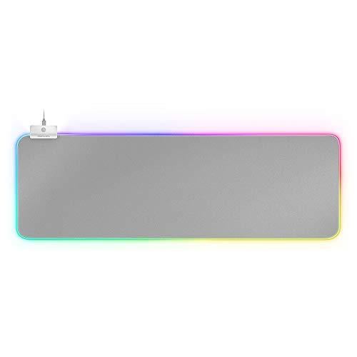 MARSGAMING MMPRGB2S XXL, Mouse pad RGB 12 modalità, 2 USB 2.0, Bianco Argento