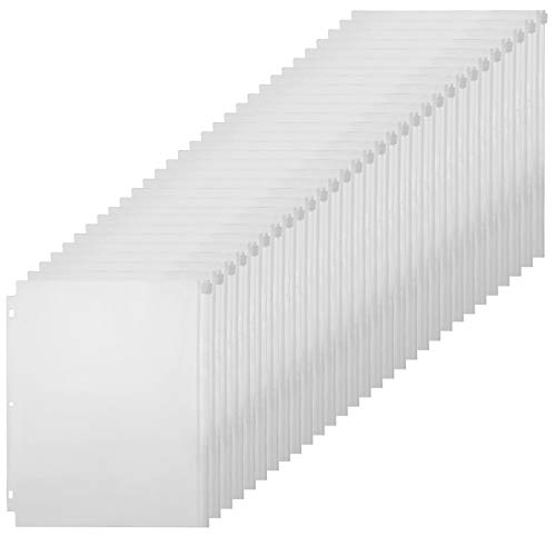 YoeeJob 3-Ring Clear PVC Zipper Binder Pocket Insert Pages Letter Size Bulk Set, 8 1/2 x 11 Loose Leaf Binder Filing Bags 30 Per Pack