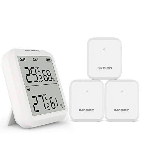 Inkbird 温度計 デジタル温湿度計 室内室外 ワイヤレス 湿度計 高精度 LCD大画面 最高最低温湿度値表示 温湿度管理 3センサー付き (ITH-20R)