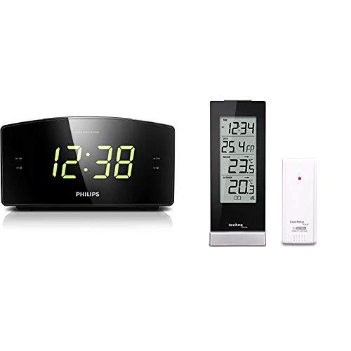 Philips AJ3400/12 Radiowecker/Uhrenradio (Großes Display) Schwarz & Technoline WS 9767 Wetterstation mit Funkuhr, Innen- und Außentemperaturanzeige, Hochglanz, schwarz, 6,4 x 4,5 x 16,5 cm