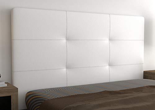 LA WEB DEL COLCHON - Cabecero tapizado Atenas para Cama de 150 (160 x 120 cms) Blanco | Cama Juvenil | Cama Matrimonio | Cabezal Cama |