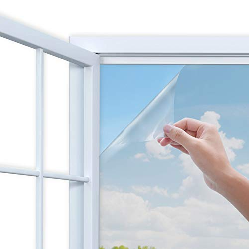 Rhodesy Mirror Window Film, One Way Mirror Adhesive Window Film, Anti UV Heat Control Sun Blocker, Privacy Protection Glass Decorative Film, 44.5 x 200 cm(17.5 x 78.7 inch), Silver