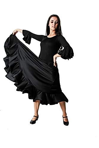 Verwöhnen Sie sich selbst! Flamenco Tanzrock, schwarz, mit Volant, für Damen, Erwachsene, Größe M