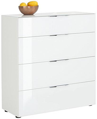 bmg-moebel.de Kommode Maja Möbel Trend 7810 weiß matt - Weißglas Abmessung: 90,2 x 98,7 x 40 cm