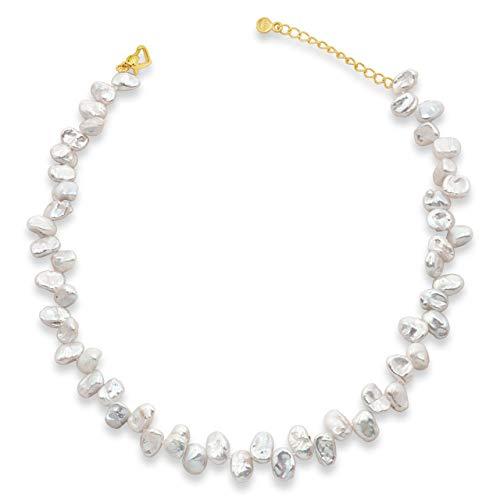 Secret & You Damen Perlenkette Strang Süßwasserzuchtbarock Keshiperlen 38 cm lang mit Verlängerungskette Barocke Keshiperlen 9-10 mm Single Knotted Pearls