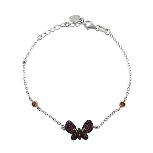 Loox Garnet Pulsera para mujer de plata 925/1000 blanco/rosa con circonita roja, 18 cm, 2,7 gramos