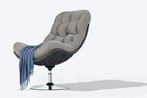Mercury Relax Lounge Fauteuil avec design professionnel de jardin – The Quiet (Marron) – Chaise pivotante avec coussin chaise longue pour salon et studio Marron