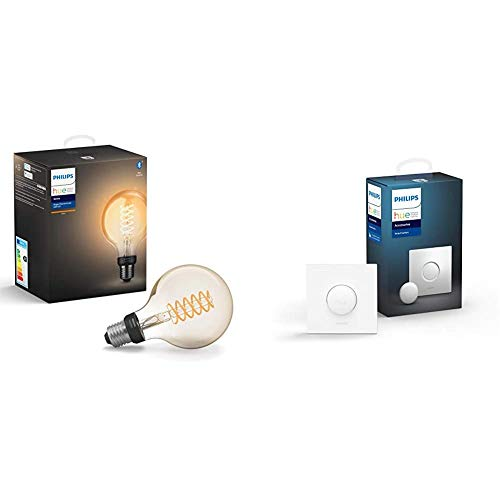 Philips Lighting Hue White Filament G93 Lampadina a Flamento Connessa, 1 Pezzo + Hue Smart Button Telecomando per Controllo delle Luci Hue