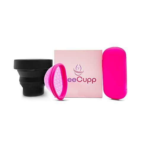 FREECUPP Copa Menstrual Ecologica Reutilizable Con Vaso Esterilizador Plegable Y Funda, Apta Para Usar Durante Tus Relaciones, Deporte Y Natación, Organic Menstrual Cup Ultrafina De Silicona