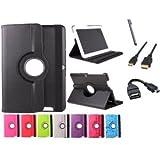 Funda giratoria para Tablet Bq Edison 3 Quad Core 10.1' Color: Rosa Fucsia + Accesorios