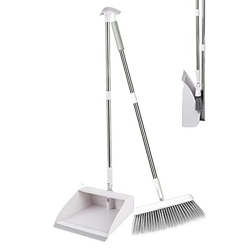 Set Scopa e Paletta in Piedi con Manico Lungo Estensibile 180° Rotazione Testa Broom and Dustpan per la Pulizia Ufficio Casa