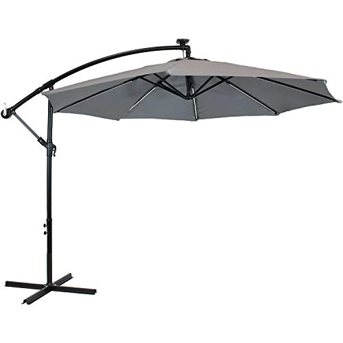 Sunnydaze Outdoor Cantilever Offset Patio Umbrella with Solar LED Lights - Outside Waterproof Polyester Shade Steel Pole - Air Vent, Cross Base and Crank - 9-Foot - Smoke