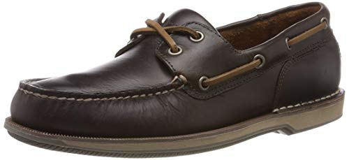 Rockport Perth Ports of Call Boat Shoe, Náuticos para Hombre, Beeswax/Dk Brown Lea 002, 9 EU