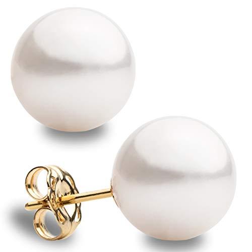 Pendientes de Oro y Perlas Redondas Cultivadas de Agua Dulce Blancas de Mujer Secret & You - Disponibles en 6 tallas, desde 6-6,5 mm hasta 11-11,5 mm - Oro de la mejor calidad 18 k Ley 755
