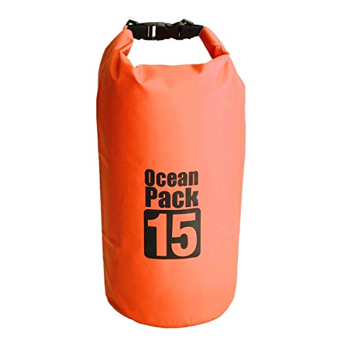 feilai Bolsa de viaje impermeable de 15 l, bolsa seca para barco, vela, rafting, canoa, kayak (color: naranja)