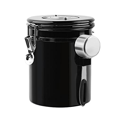 ConBlom Kaffeedose Edelstahl Luftdicht Vorratsdose Kaffeebehälter für Kaffeebohnen Pulver Vakuumbehälter für Kaffeebohnen, Pulver, Tee, Nüsse, Kakao 1,5L (Schwarz)