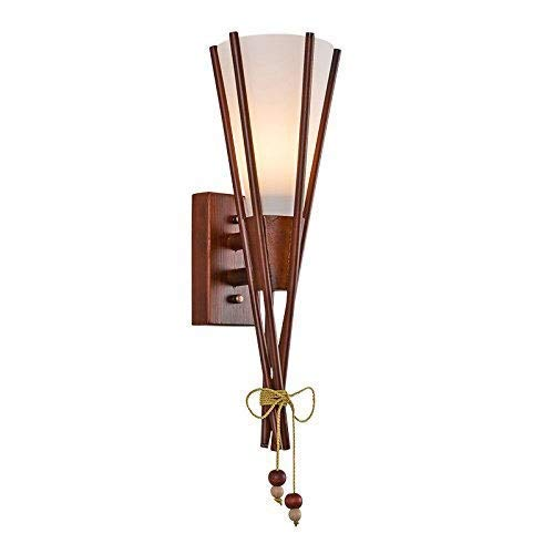 Luz de Pared Creativa Mesita de Noche E27 Lámpara de Pared Madera Maciza Pared de la Sala de Estar Aplique de Pared mediterráneo Linterna Estilo Chino Dormitorio Pasillo Balcón Escaleras EST