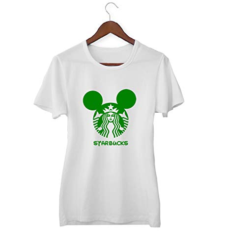 Starbucks Mickey Logo Mix_KK015691 Shirt T-Shirt Tshirt for Women Damen Gift for Her Present Birthday Christmas - Women's - Small - White