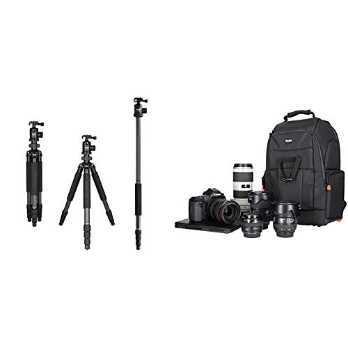 Rollei Rock Solid Gamma Mark II Carbon Stativ -Kamera Stativ mit 20 KG Tragkraft und Kugelkopf T3S & Fotoliner Fotorucksack M (großer Kamerarucksack (Daypack) mit Schnellzugriff, Laptop-Fach) schwarz