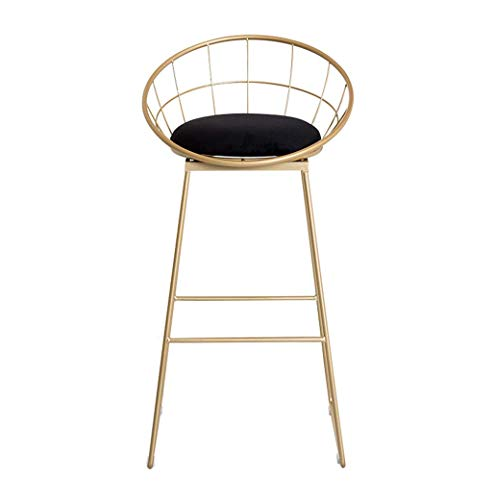 YLCJ Barkrukken met rugleuning in zwart Velvet stof Barkruk Metalen voeten, Eetkamerstoel Ontbijtkruk voor keukens   Pub   Caf ; Bar Kruk Max. 200 kg. Seat height:65cm