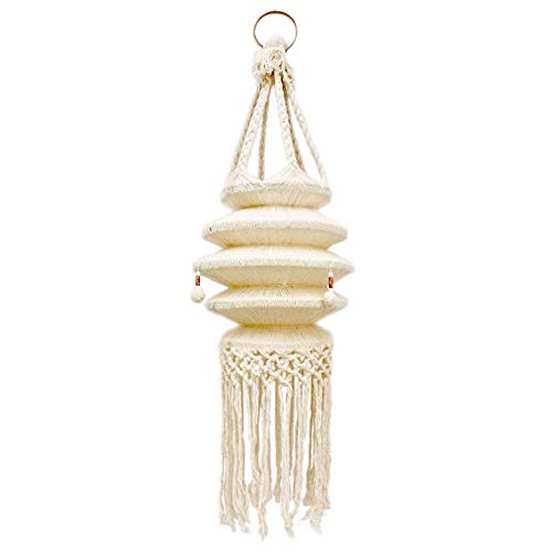 Simple P Macrame Hanging Hanger Lantern Cotton Rope Ceiling Pendant Boho Bohemian Handwoven Hippie Style for Home Indoor Outdoor Living Room Bedroom Natural Decorative (NO Light Included)