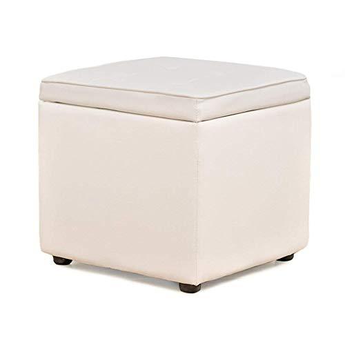 XWYDZ Multifunktionsaufbewahrungsbehälter PU Solid Color ändern Schuh Bench Makeup Hocker Wohnzimmer-Fußbank Sofa Hocker aus Holz Bank-Sitz, mehrere Farben zur Auswahl XWY-6D8Z3 (Farbe : Weiß)