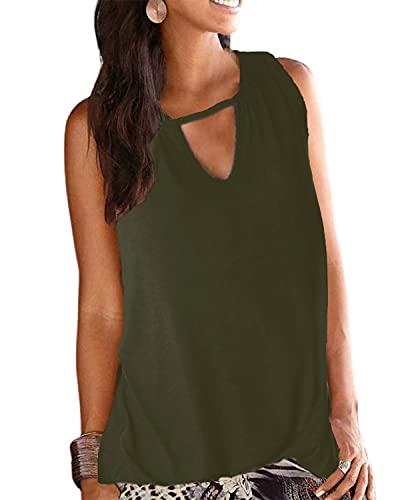 LilyCoco Damska bluzka bez rękawów, top dla kobiet, na lato, seksowna koszulka z dekoltem w kształcie litery V, zielony, XXL