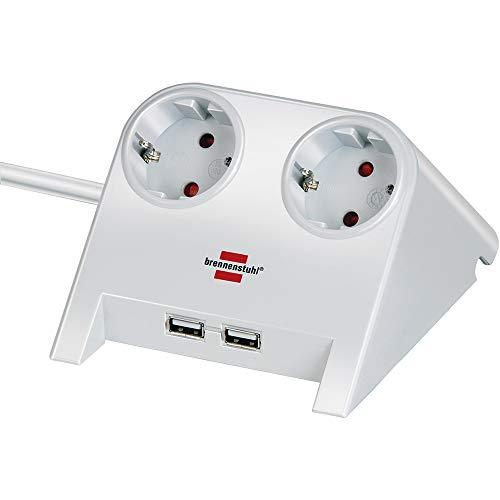 Brennenstuhl Desktop-Power, Steckdosenleiste 2-fach für den Tisch (Tischsteckdose mit 1,8m Kabel, Gummifüßen und 2-fach USB) weiß poliert