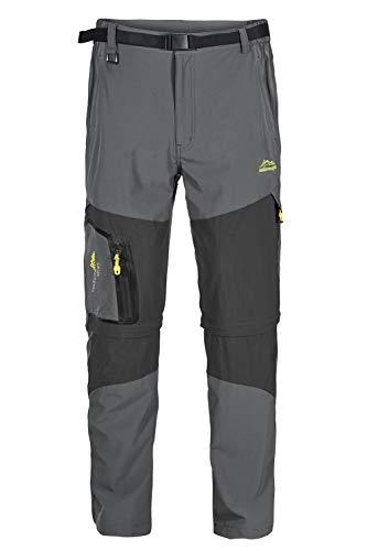EUSMTD 2 en 1 Desmontable Ligero Secado Rápido Transpirable Pantalones Hombre Largos Gray M