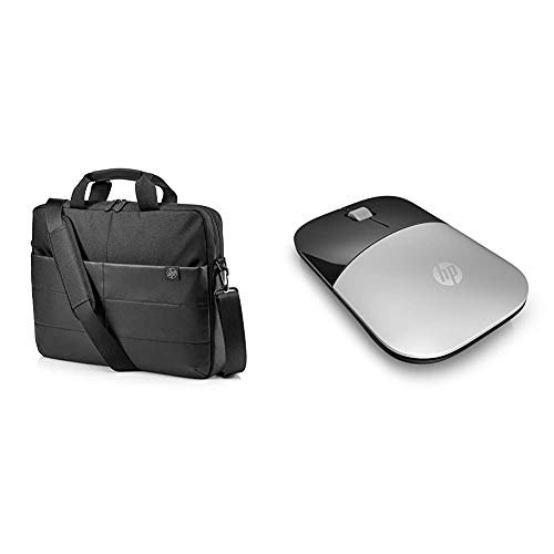 HP Classic 15.6 Inch (39.6 cm) Black Briefcase TopLoad Messenger Bag & Z3700 Silver 2.4 GHz USB Slim Wireless Mouse with Blue LED 1200 DPI Optical Sensor, Up to 16 Months Battery Life