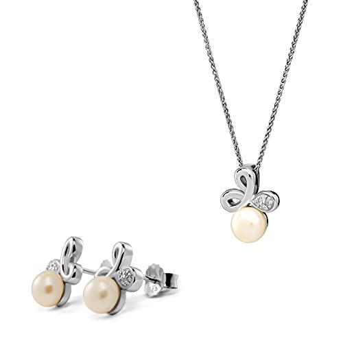 Orphelia Juego de pendientes de plata de ley 925 + colgante con cadena con circonita y perla.