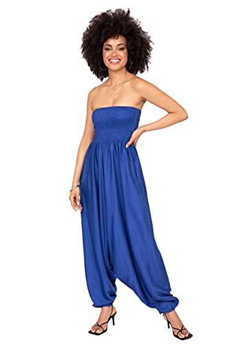 likemary Extraweite Damen Haremshose - Einteiler aus Seidenimitat – Jumpsuit Overall - Pluderhose mit Bandeau Oberteil - Größen 36 bis 44 - Vielseitig anpassbar - Dehnbare Bünde Kobalt Blau