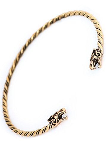 Battle-Merchant Torques - Wikinger Halsreif Fenris aus Bronze, gekordelt Wolf Bronzehalsband Gothic Halsband LARP Wikinger (Groß/15cm)