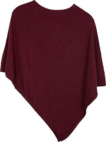 styleBREAKER Damen Feinstrick Poncho in Unifarben, leicht asymmetrischer Schnitt, Ärmellos, Rundhals 08010042, Farbe:Bordeaux-Rot