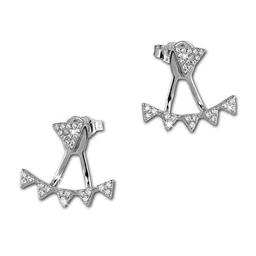 Pendientes SilberDream para mujer, Dangle Ear Cuff, con triángulos, color blanco, de plata de ley 925, GSO446W